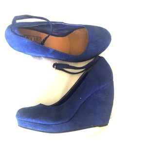 Electric Blue Babydoll Wedge Shoes